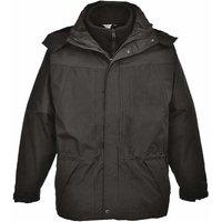 Suw - Aviemore 3 In 1 Mens Detachable Fleece Waterproof Jacket With Hood, Black, 2Xl,