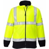 sUw - Flame Resistant Safety Workwear Anti-Static Hi-Vis Fleece Jacket, Yellow, 2XL,