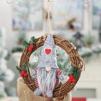 Swedish Christmas Santa Gnome Plush Handmade Dolls Rattan Circle Christmas Elf Decoration Ornaments Tomte Holiday Thanks Giving Day Gifts Table Decor