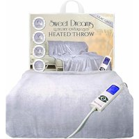 Sweet Dreams Heated Throw Electric Blanket Over Bed Sofa Settee Warm Soft Lilac Grey Washable