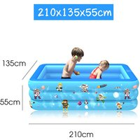 Swimming Pool Garden Outdoor Inflatable Paddling Pool Blue 210x135x55cm
