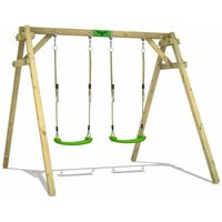 FATMOOSE Wooden swing set JollyJim with Climbing extension Childrens swing