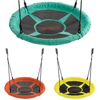 37.5 Saucer Nest Swing with Solid Fabric Seat Design and Adjustable Ropes - Playground Accessories for Kids and Adults - Green - Swingan