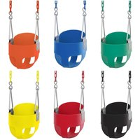 Baby Toddler High Back Bucket Swing Soft Seat | Playground Accessories for Kids | Fully Assembled - Orange - Swingan