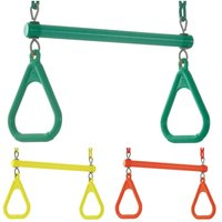 Kids Trapeze Bar Swing Seat and Rings | Playground Sets and Accessories for Children | Fully Assembled - Yellow - Swingan