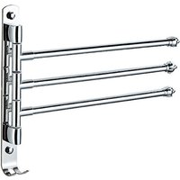 Swivel Wall Mounted Stainless Steel Towel Rack with 4 180 ° Rotating Bars, Towel Bar for Bathroom and Kitchen / Sink, 30cm (3 shots)