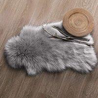 Synthetic Sheepskin, Cozy Feel Like Real Wool Synthetic Fur Rug, Fluffy Soft Longhair Decorative Chair Cushion Sofa Mat (Gray, 60x 120cm)