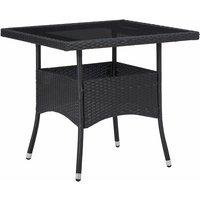Table à manger d'extérieur Noir Résine tressée et verre - VIDAXL