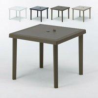 Table bar café Poly rotin 90x90 BOHÊME | Marron - Grand Soleil