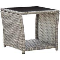 Youthup - Table basse table dejardin d'extérieur Gris 45x45x40 cm Résine tressée et verre