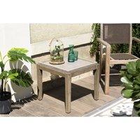 Table d'appoint de jardin carrée béton 53x53 cms et pieds en bois Acacia. - Gris - MACABANE