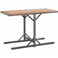 Table de jardin Anthracite Resine tressee et bois d'acacia - ASUPERMALL