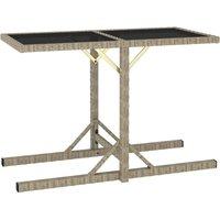 Table de jardin Beige 110x53x72 cm Verre et résine tressée - VIDAXL