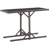 Table de jardin Marron 110x53x72 cm Verre et résine tressée - VIDAXL