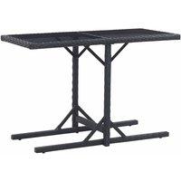 Table de jardin Noir 110x53x72 cm Verre et résine tressée - VIDAXL