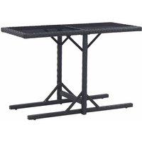 Asupermall - Table de jardin Noir 110x53x72 cm Verre et resine tressee