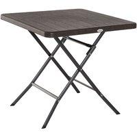 Table de jardin pliable table pliante carrée dim. 78L x 78l x 74H cm métal époxy HDPE imitation bois chocolat - Outsunny
