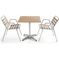 Ensemble terrasse, table carrée et 2 chaises en bois et aluminium Times Square - Gris - OVIALA
