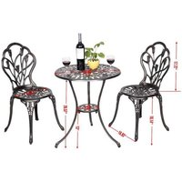 Costway - Table et 2 chaises de jardin salon de jardin en aluminium coulé style antique