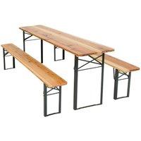 Tectake - Table et bancs pliant en bois, Table de Jardin, Table de Réception, Table de Camping