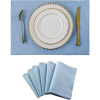 Bearsu - Table Mat Set of 6 Heat Resistant Dining Table Placemats for Kitchen, 13x19 inch, Blue