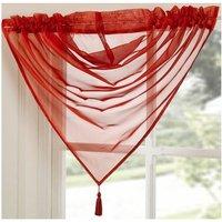 Tamara Plain Poppy Red Natural Tassel Swag 15 Wide X 50 Drop (40Cm X 120Cm) Pelmet Swag Valance Drapes Voile Net Window Decor