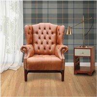 Tan Chesterfield Churchill High Back Wing chair | DesignerSofas4U
