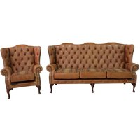 Tan Leather Wool Large Chesterfield High Back Sofa | Made in UK | DesignerSofas4U - DESIGNER SOFAS 4 U