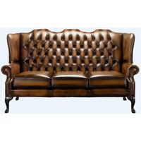 Tan Office Chesterfield 3 Seater High Back chair | Interest Free Credit | DesignerSofas4U