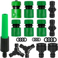 """Tap connectors to connect a garden hose. (Plastic spray gun * 1, fast water connection 1/2 """"* 6, tap connector 3/4"""" -1/2 """"* 2, 1/2"""" Crossing right *"""