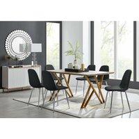 Furniturebox Uk - Taranto Oak Effect Dining Table and 6