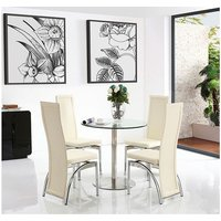Modern Furniture Direct - Target Round Glass and Steel 80cm Dining Table with 2 Alisa Dining Chair [Ivory]