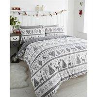 Tartan Check Stag Reindeer Single Duvet Cover Set Bedding Natural/Brown - BEDMAKER