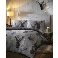 Bedmaker - Tartan Stag Grey Reindeer Single Duvet Cover Set Bedding Quilt Bed Set