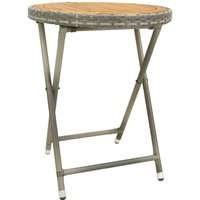 Youthup - Tea Table Grey 60 cm Poly Rattan and Solid Acacia Wood