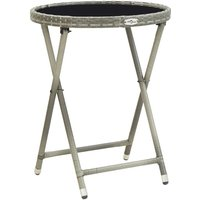 Youthup - Tea Table Grey 60 cm Poly Rattan and Tempered Glass