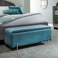 Teal Fabric Storage Ottoman Bench Bedroom Unit Gold Metal