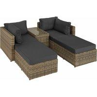 Rattan garden furniture set San Domino with aluminium frame - garden sofa, rattan sofa, garden sofa set - nature