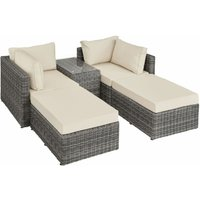 Rattan garden furniture set San Domino with aluminium frame - garden sofa, rattan sofa, garden sofa set - grey