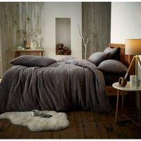 Teddy fleece luxury duvet cover bed set - Double - Charcoal - GROUNDLEVEL