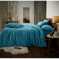 Teddy fleece luxury duvet cover bed set - Double - Teal - GROUNDLEVEL