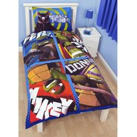 Teenage Mutant Ninja Turtles Dudes Kids Reversible Single Duvet Cover Bedding Set (Single Bed) (Multicoloured)