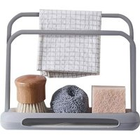 Telescopic Kitchen Sink Organizer, Cloth Holder, Double Layer, Adjustable, Soap Dish, Steel Sponge Drainer (Gray)