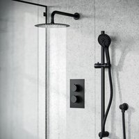 Temel Matt Black Rainfall Shower Head and Thermostatic Mixer Valve with Hand Held Set