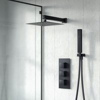 Temel Matt Black Square Shower Head Concealed Thermostatic Mixer Valve Hand Held - NESHOME
