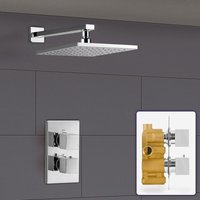 Temel Square 1 Outlet Concealed Thermostatic Shower Mixer Set - Shower Head