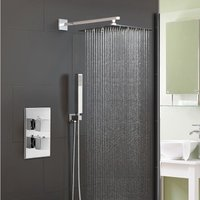 Temel Square Concealed Thermostatic Mixer Valve With Hand Held and Shower Head Set