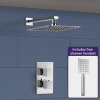 Temel Square Thermostatic Mixer Valve, Shower Arm and Shower Head with Hand Set