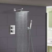 Temelis Square Concealed Thermostatic Shower Mixer, Shower Head and Handset