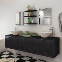 Zqyrlar - Ten Piece Bathroom Furniture Set with Basin with Tap Black - Black